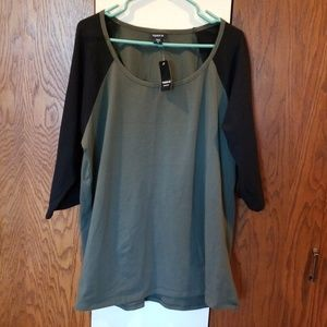 NWT Torrid long sleeve olive green and black top
